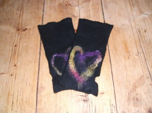 Felted fingerless mittens