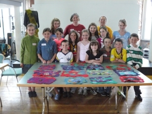 Children with their brilliant work, volunteers and me at the afternoon session!
