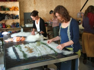 Deirdre and Sharon alying out their felt projects incorporating fresh and dried natural items