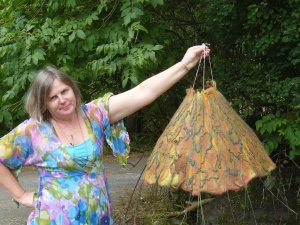 Anne with her finished felt lampshade