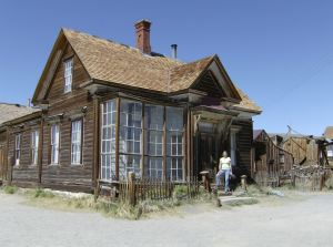 Outside one of the larger abandoned houses in Bodie