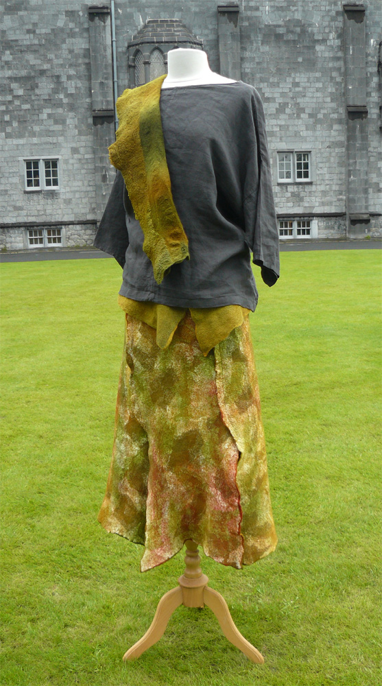 Felt skirt and wrap outside Kilkenny Castle