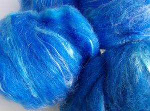 Electric blue hand carded merino and silk