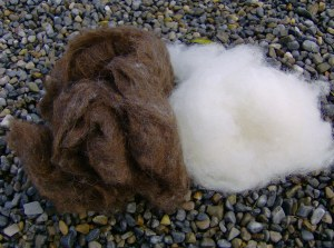 Dark brown and white batts