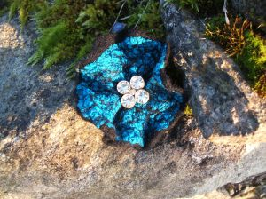 Turquoise and black nuno felt brooch with Victorian button