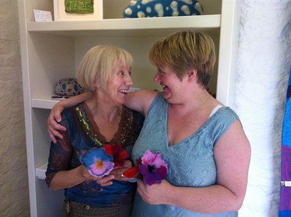 Louise and her mum with the beautiful flowers they felted during one of my workshops!