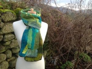 Mosaic style nuno felt scarf
