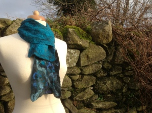 Simple scarf combining ponge silk, merino and silk throwster's waste