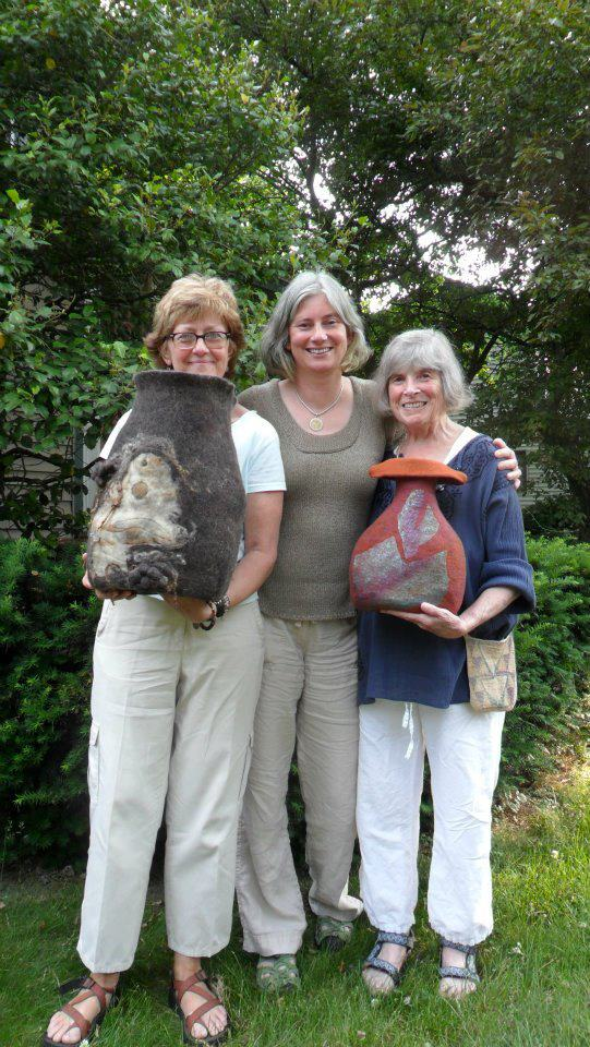 Sue and Shirley with their marvellous large felt vessels!