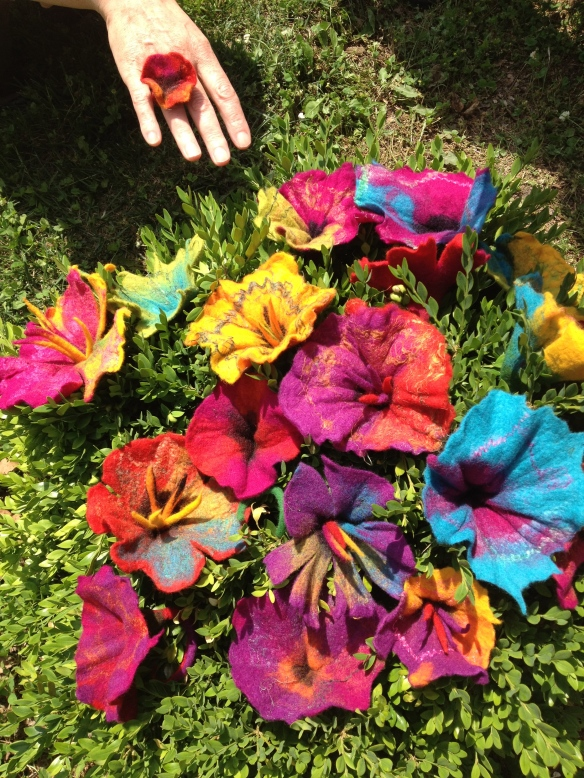 Gorgeous and colourful felt flowers felted during one of my workshops last year at the Kentucky Sheep and Fiber Festival!