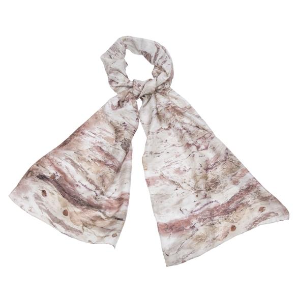 Naturally printed silk scarves €65