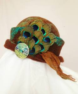 Nuno felt hat with peacock feathers