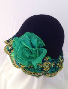 emerald green and black felt cloche