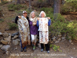 Virginia, Julie and Shelly. having fun and showing off some of their beautiful eco printing!