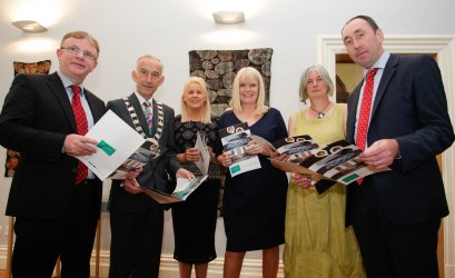 No Repro Fee: Pat Delaney, Head of Finance, Carlow County Council; John Murphy, Cathaoirleach of Carlow County Council; Senator Jennifer Murnane O'Connor; Minister for Jobs, Enterprise and Innovation, Ms. Mary Mitchell O'Connor T.D.; Nicola Brown, Chair person of FORM; Pat Deering T.D. at the launch of the FORM Exhibition Launch. PIC: Joe Keogh